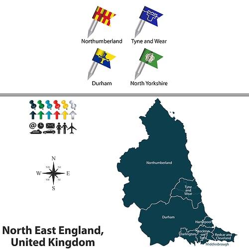 North East England Map - Top Burgalry Hotspot